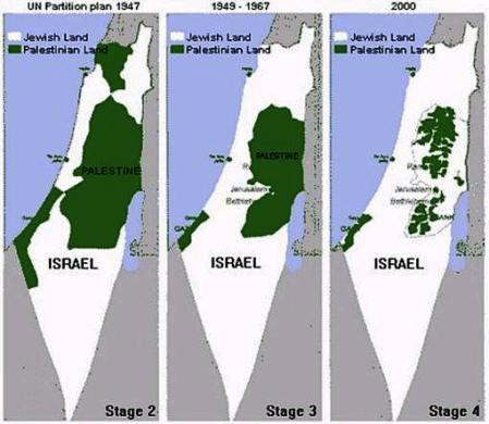 Карта Израиля и Палестинские поселения в период с 1947 - 2000 год - Одесский Политикум