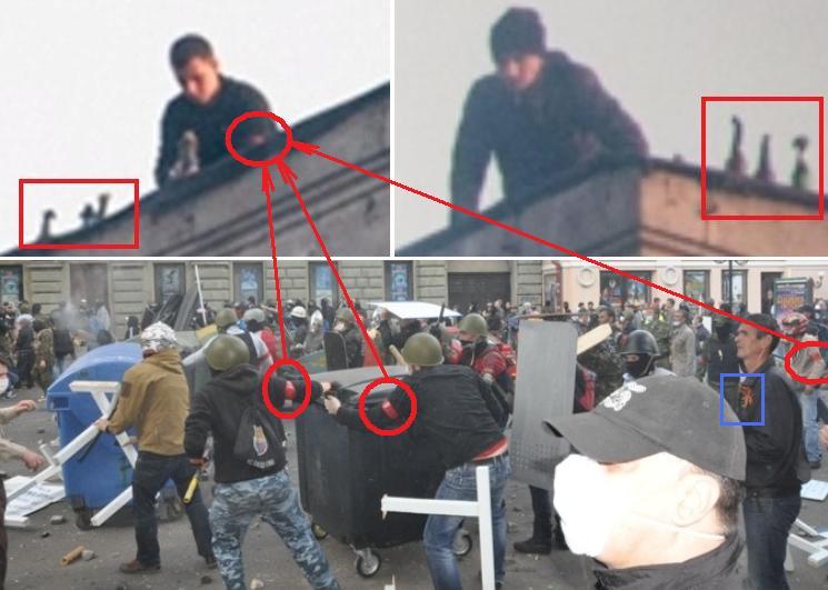 Одесса. Дом профсоюзов. Боевики на крыше и клоуны из массовки изображают сторонников федерализма - Одесский Политикум